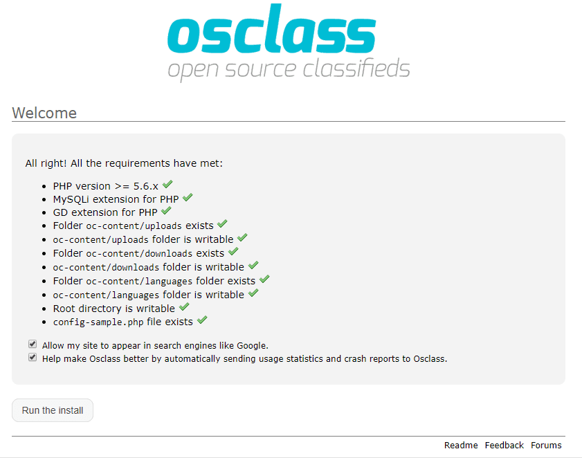 osclass install requirement check and welcome