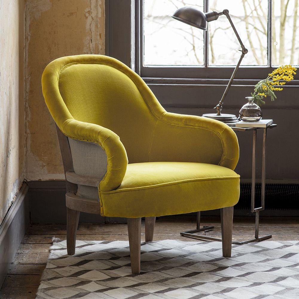 Mustard Yellow Velvet Armchair