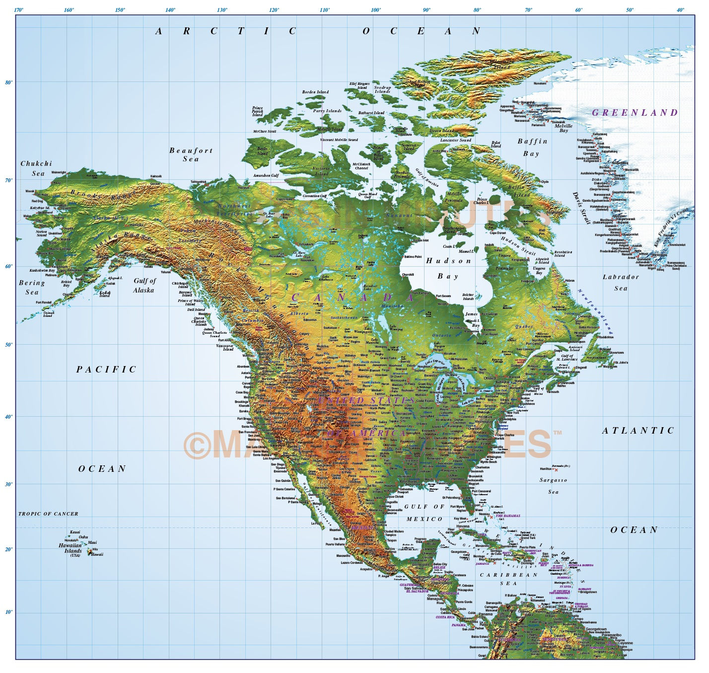 North America Strong Relief map in Illustrator CS format.