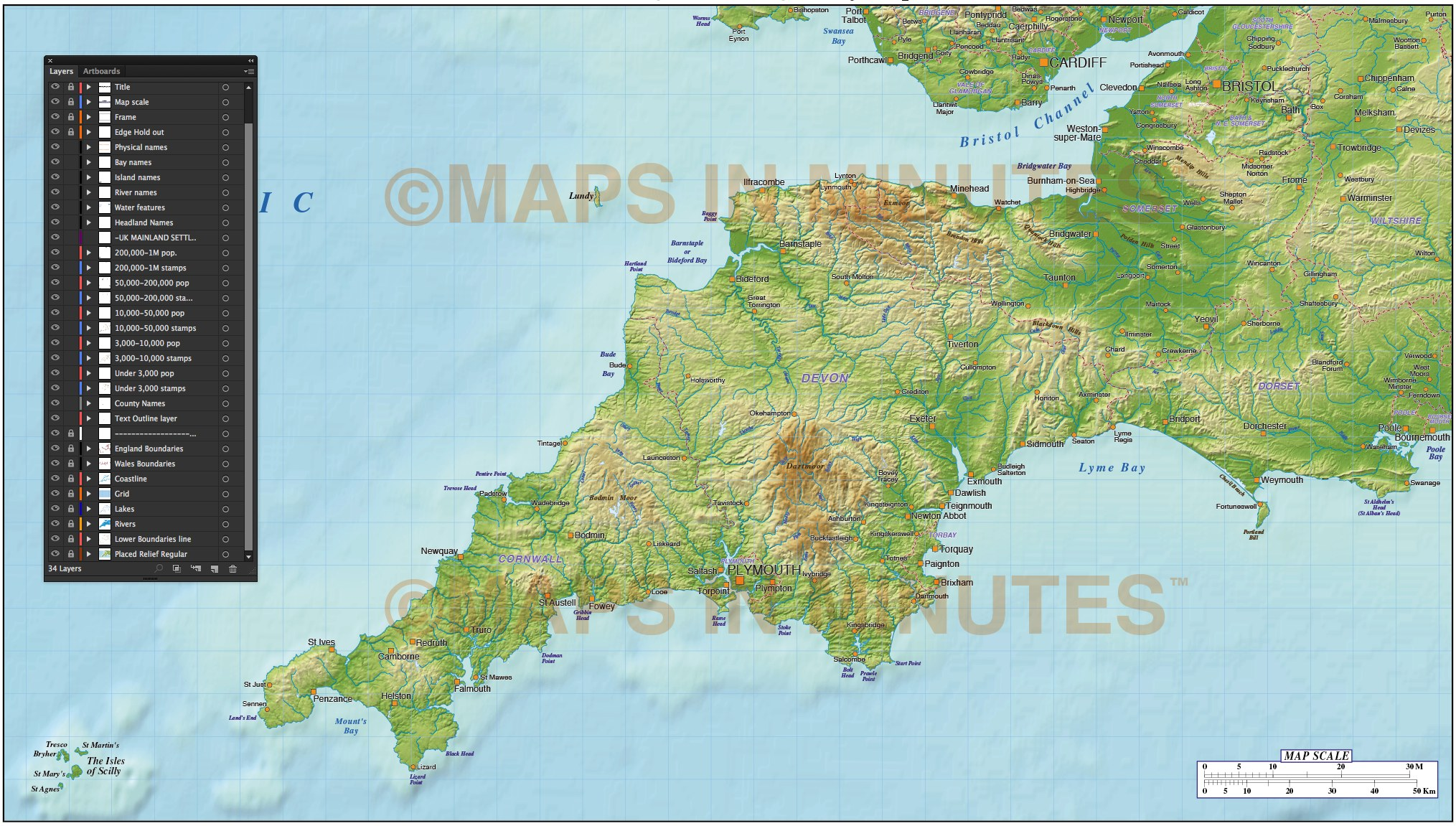 South West England County Map with strong relief  1 000 000 scale in     More Views