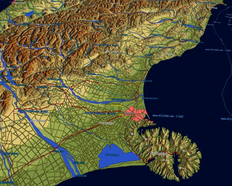 World Vector Map Set   vector data  relief maps and satellite images     3D Christchurch NZ map   vector data combined with Physical Relief