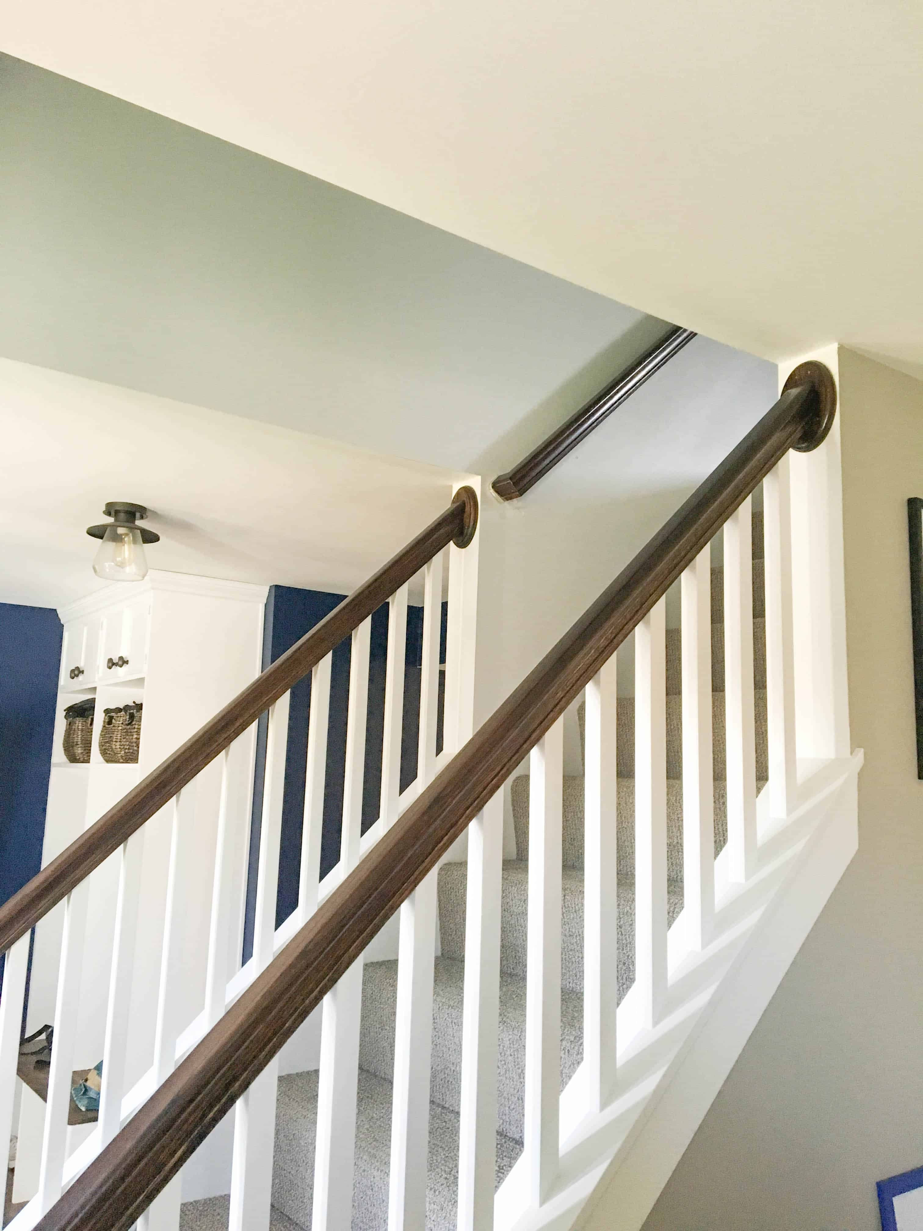 How To Paint High Walls On Stairs A Turtle S Life For Me   Stair Wall Colour Design   Hall Nature