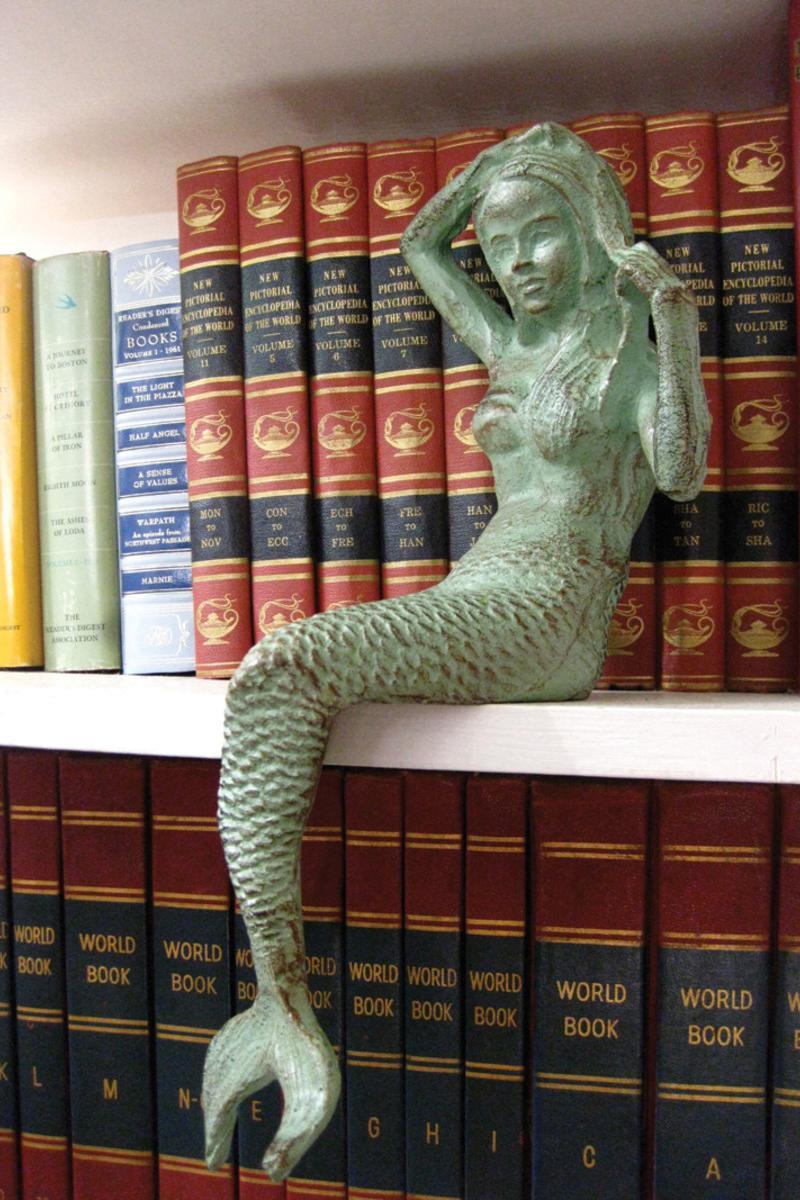 Antique Green Cast Iron Mermaid