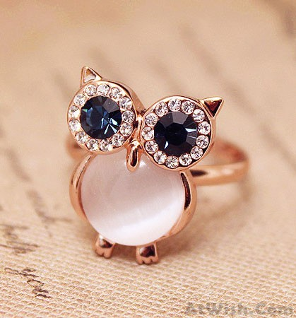Lovely Owl Opal Opening Animal Ring   Fashion Rings   Jewelry     Lovely Owl Opal Opening Animal Ring