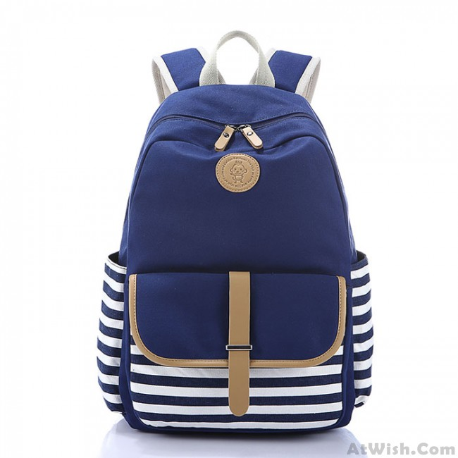 Simple Stripe Backpack Canvas School Bag Travel Bag   Fashion     Simple Stripe Backpack Canvas School Bag Travel Bag