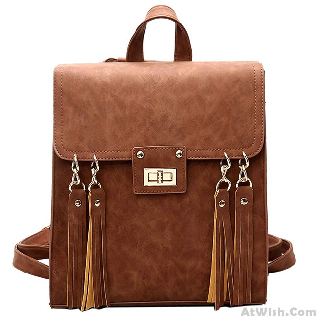 Retro Frosted Tassels Flap Multifunction Shoulder Bag Fashion Square     Retro Frosted Tassels Flap Multifunction Shoulder Bag Fashion Square PU  Street Style Backpack