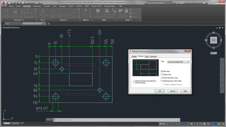 AutoCAD Mechanical Toolset   Mechanical Design Software Create dimensions using abbreviated dialog boxes