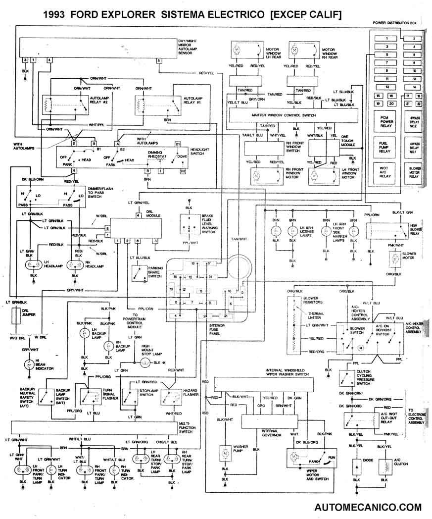 1993 sistema electrico del chasis excep calif