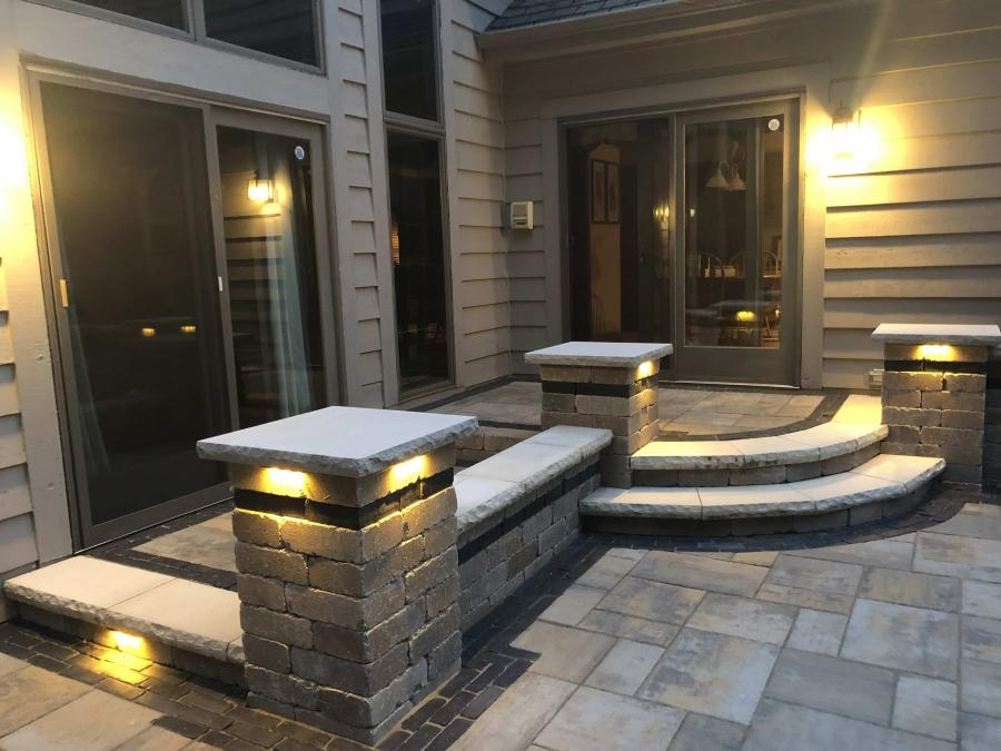 View Our Work   Patio With Stairs From House   Concrete Slab   Simple   Back Yard   Composite Decking   Main Entrance Stamped Concrete Front