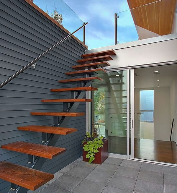 Modern Iron Stairs Design Outdoor   Outdoor Wooden Steps Design   Exterior   Compact Space Outdoor   Railing   Rustic   Storage Underneath