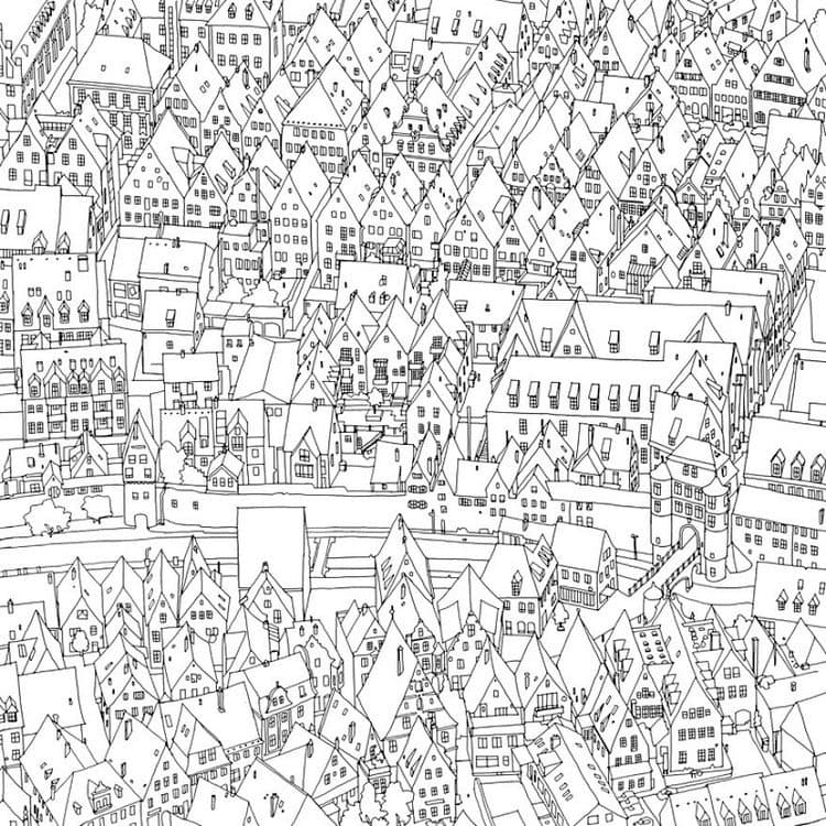Coloring book takes you fantastic cities both real, i love you coloring pages