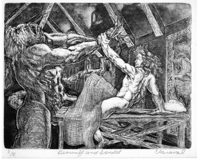 Mom S Beowulf Fighting Grendel Drawing
