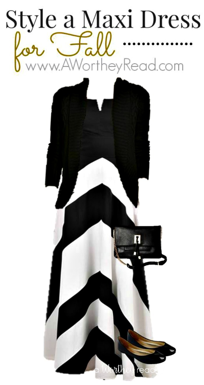 Style A Maxi Dress For Fall Black & White -easy and comfortable women's fashion idea
