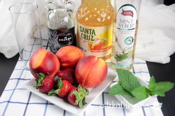 Ingredients for Peach & Strawberry Rum Mojito