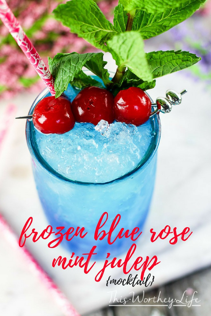 This blue drink is a great summer mocktail idea! Plus any drink served in mason jar says summer drink! Try our Frozen Blue Rose Mint Julep Mocktail Recipe Great mocktail recipe for kids and adults!