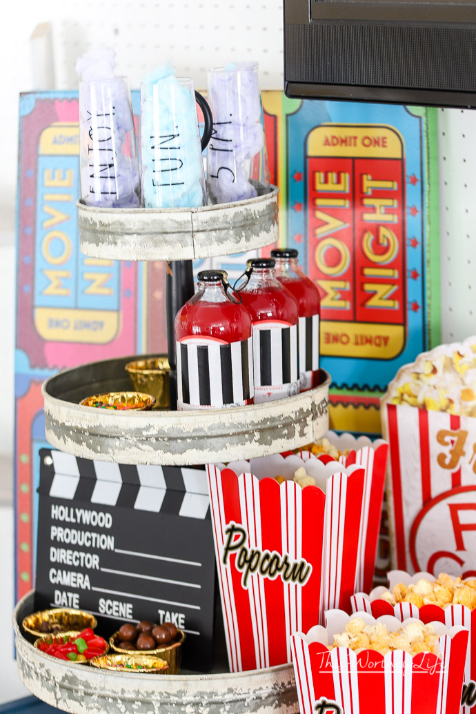 Create your own movie night-in party with snacks, popcorn, and drinks with our party ideas listed below. We're reminiscing about the drive-in movie days and created an easy movie night party idea for our friends and family!