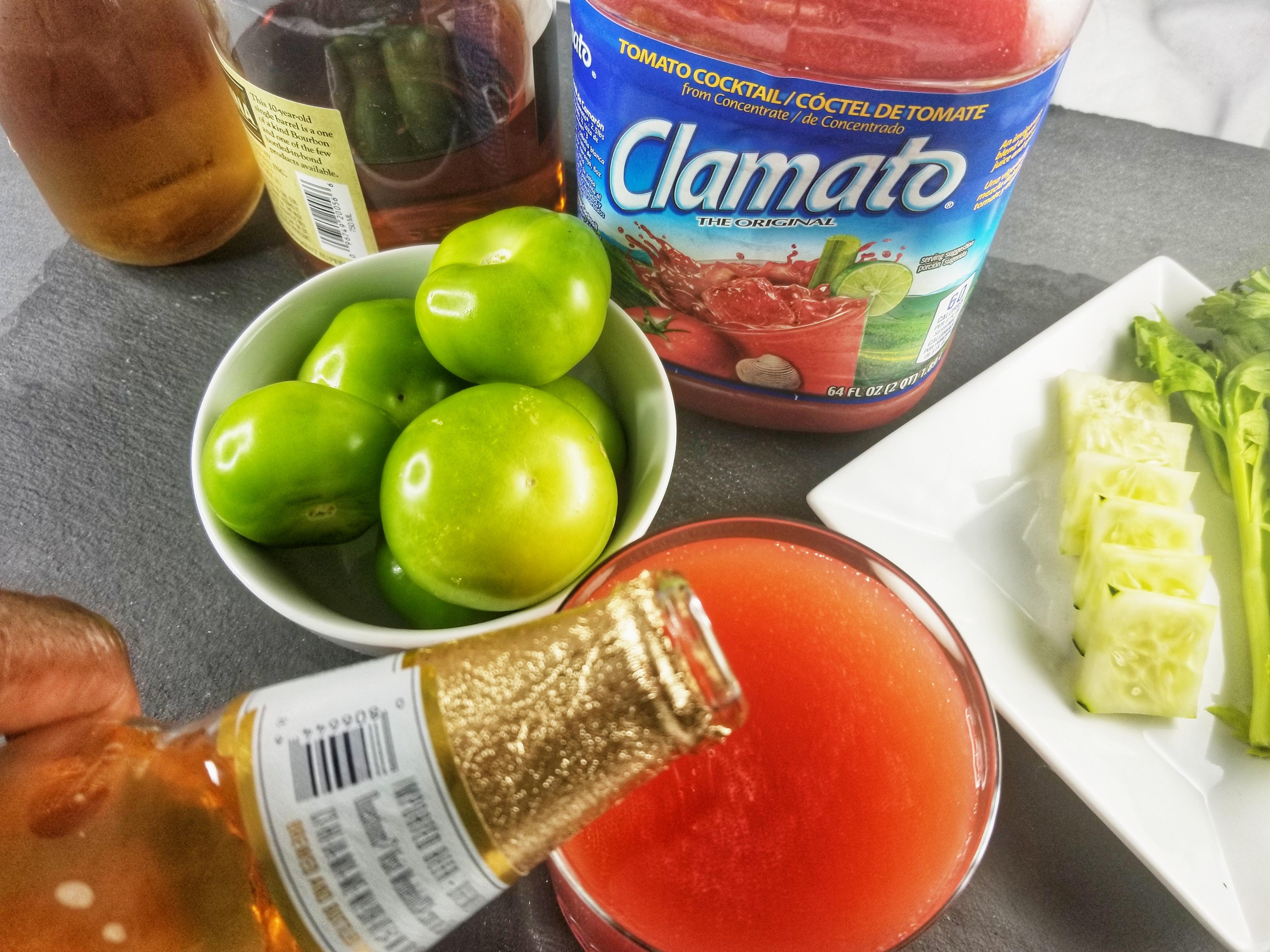Clamato Bourbon + Tomatilla Foam 1