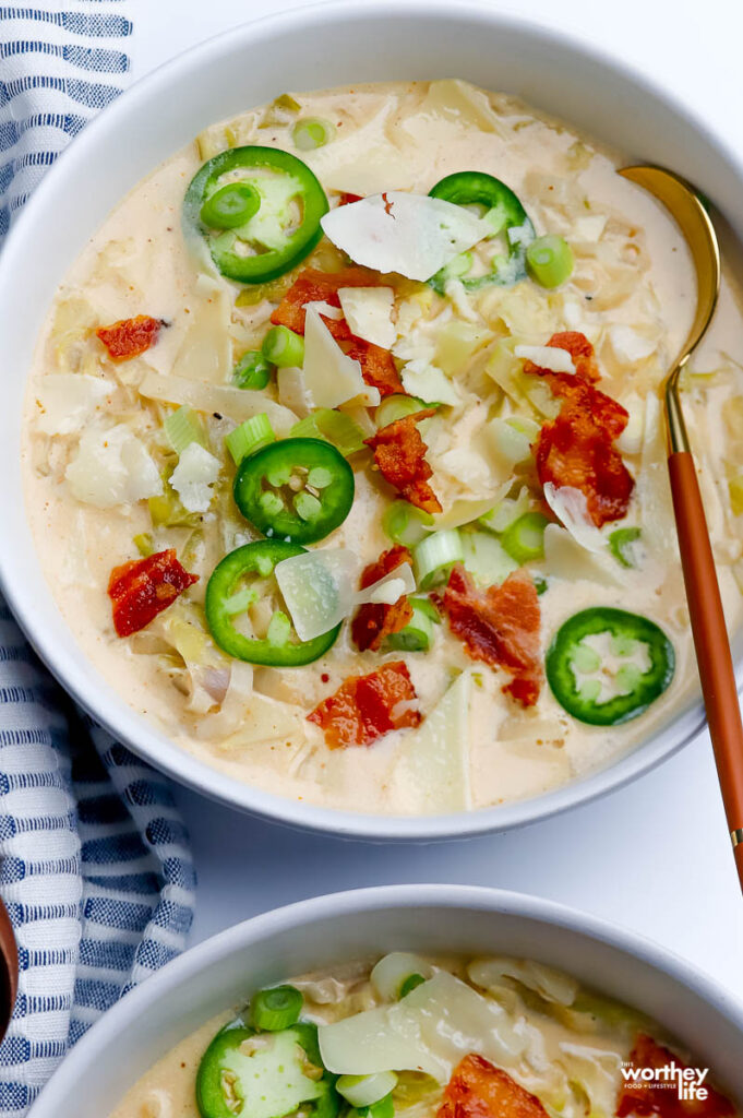 bowl of cabbage soup on a white background