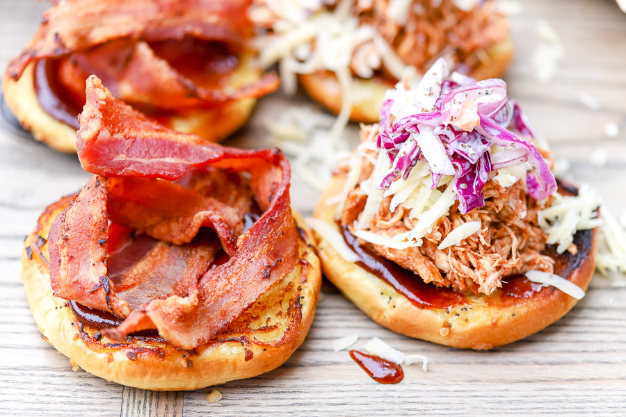 The Bestest Pulled Chicken Sandwiches with Bacon