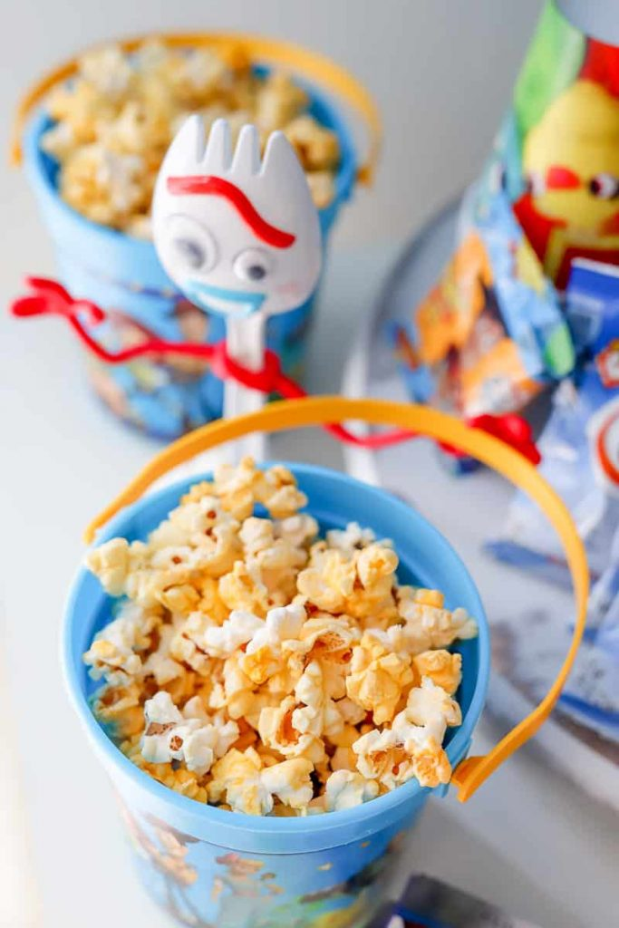 a bucket of popcorn from Toy Story