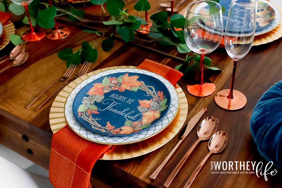Fall Tablescape using orange colors