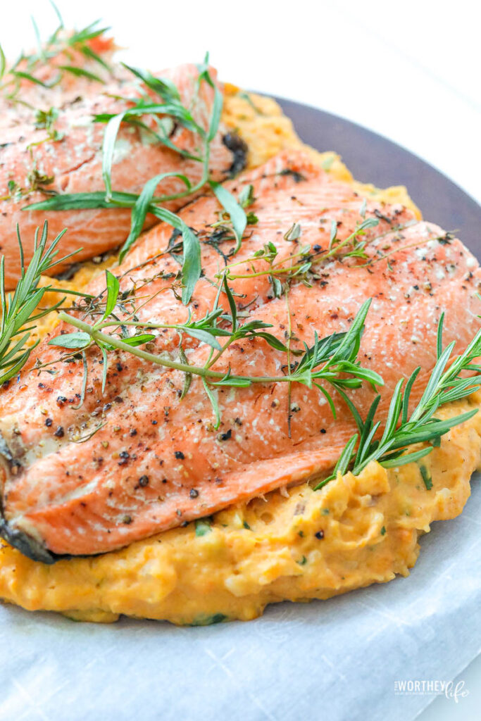 Hearty potatos paired with savory herb salmon is an easy dinner idea. Try our Salmon Potato Bake Dinner idea made with Savory Yukon Gold & Sweet Potatoes and served with Herb Butter Salmon.