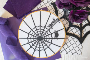 Iron-On Spider Web Hoop Art with Cricut (with SVG)