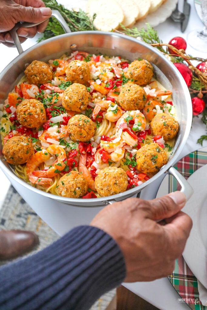 Holiday Seafood Spaghetti + Salmon Meatballs