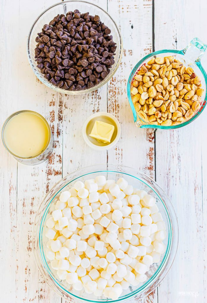 ingredients for rocky road dessert on white shabby chic background