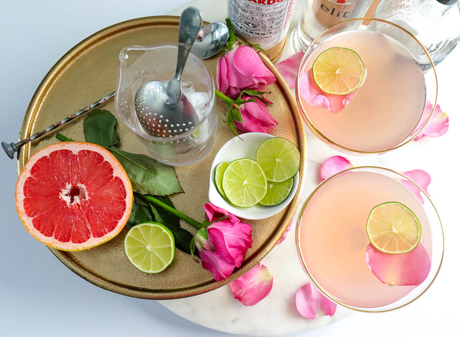 a display of ingredients for making a pink gin cocktail