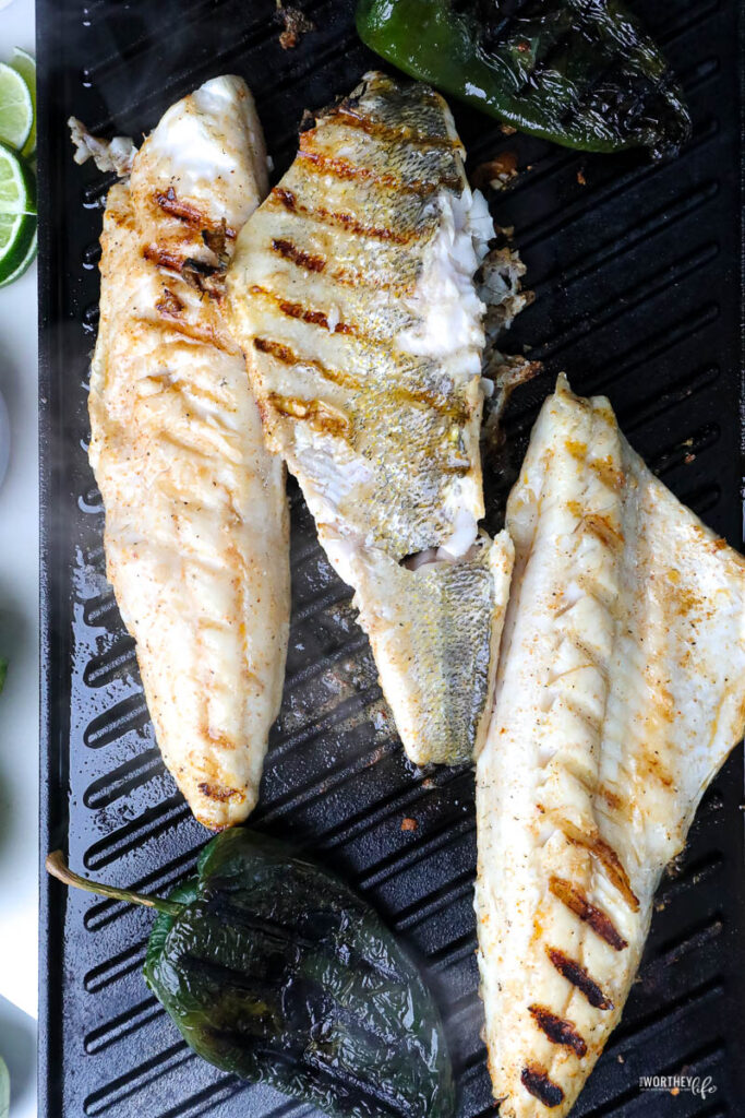 grilled walleye on a grill