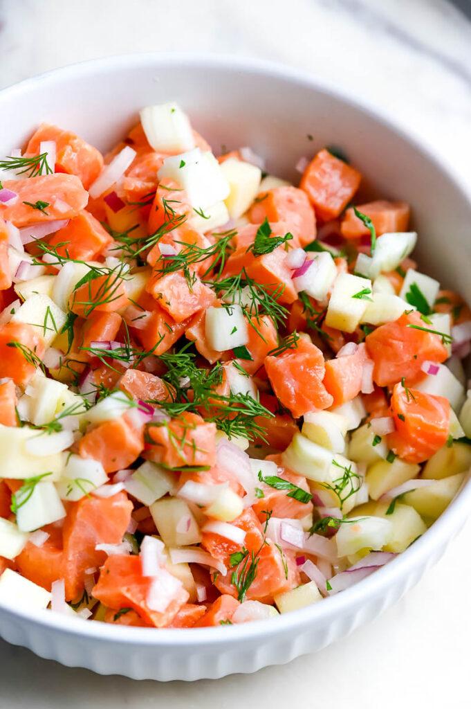 diced up fresh veggies in white bowl