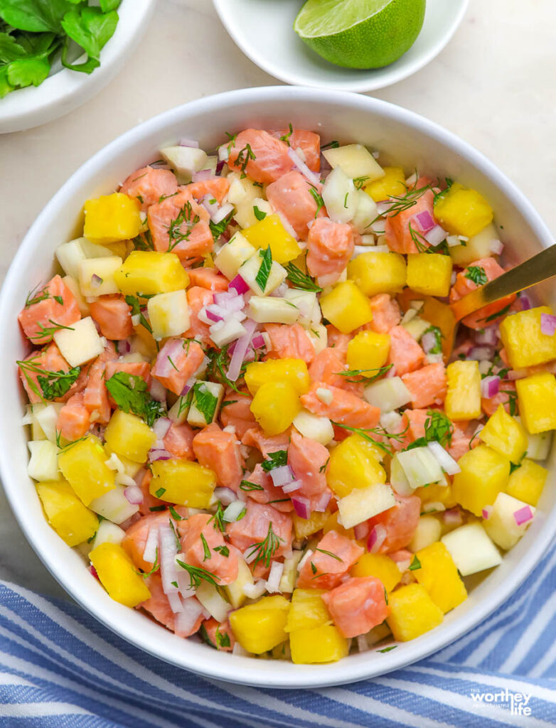 ceviche in a large white serving bowl