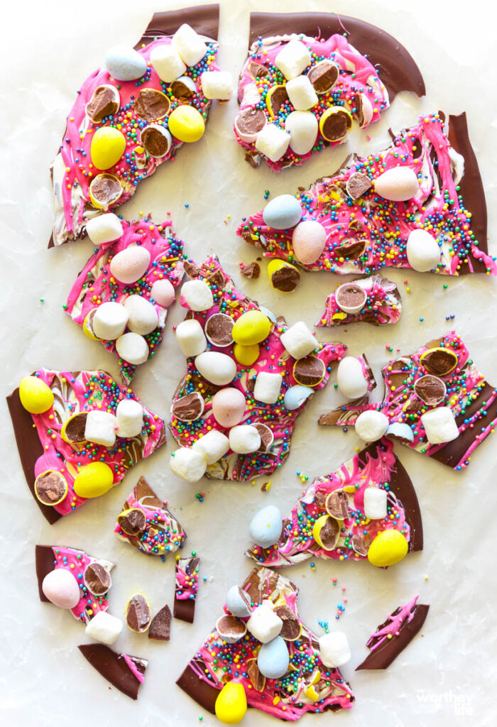 pieces of easter bark chocolate on a white background
