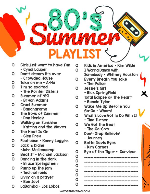 80's Summer Playlist free printable