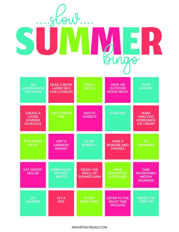free Summer Bingo for Kids printable