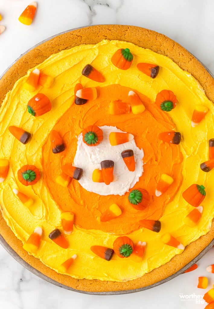 candy corn pizza on white background