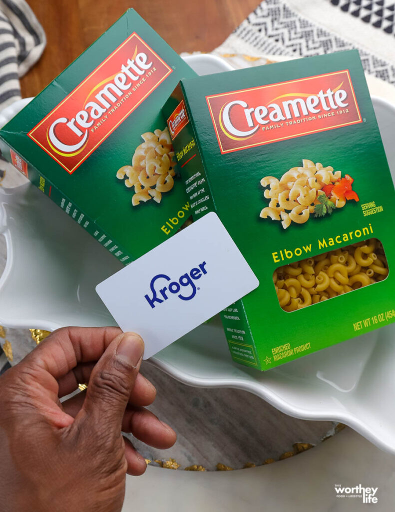 boxes of Creamette pasta purchased at Kroger