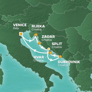 Map italy croatia world map full maps 7 night croatia intensive voyage 29 jun 19 croatia intensive cruise itinerary map from venice to publicscrutiny Images