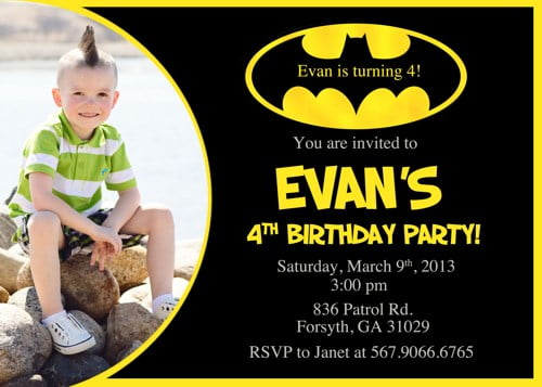 Batman Party Invitations 1st Birthday