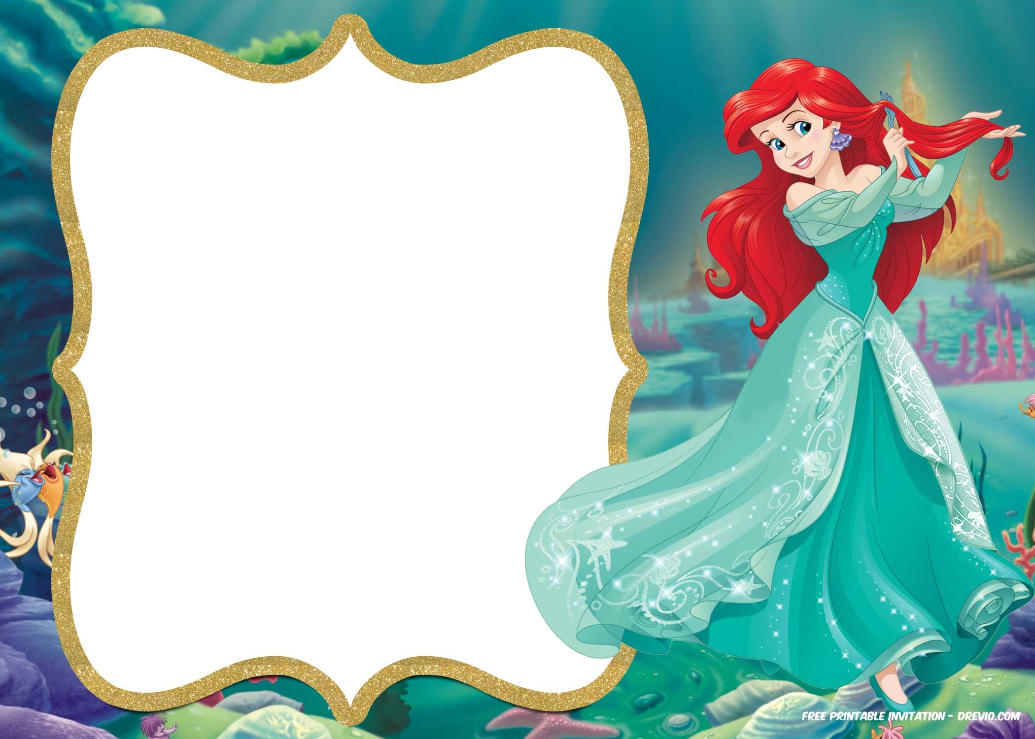 little mermaid invitations template printables