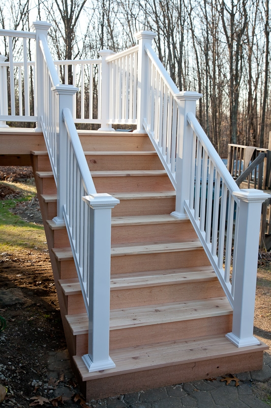 Western Red Cedar Deck Stairs Storrs Mansfield Ct   Building Deck Stair Railings   Outdoor Stair   Balusters   Porch Railing   Porch   Stair Treads