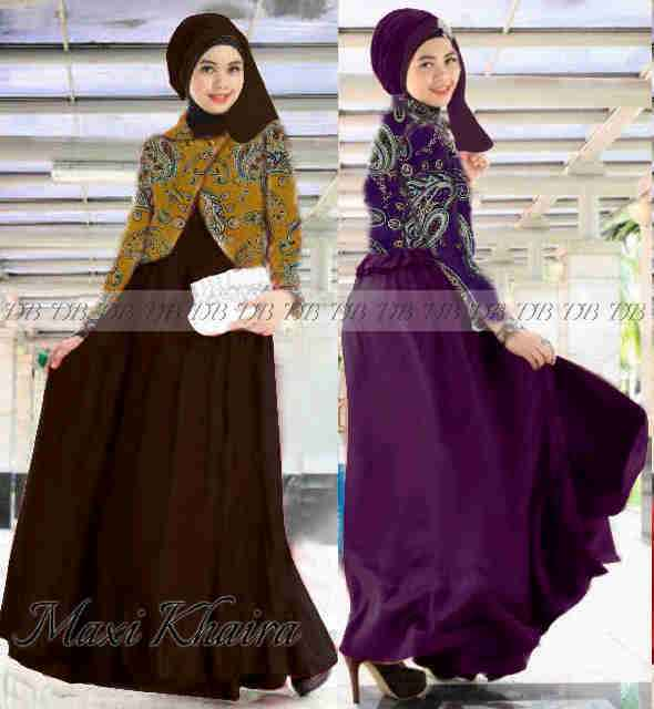 Image Result For Model Gamis Batik Campur Polos