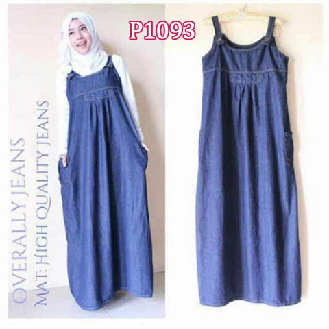 Baju Gamis Casual Overall Jeans P Maxi Dress