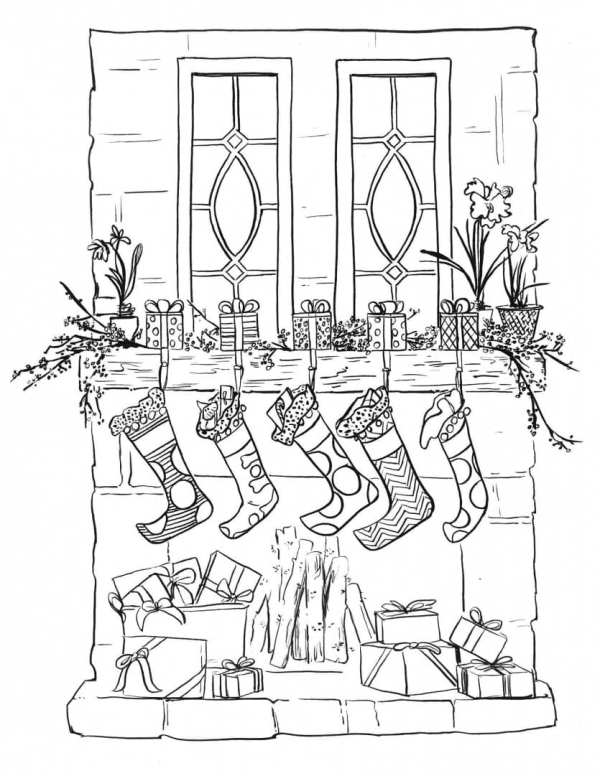 christmas stockings coloring pages # 41