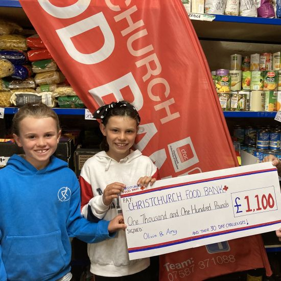Sisters raise £1,100 for the Christchurch Food Bank