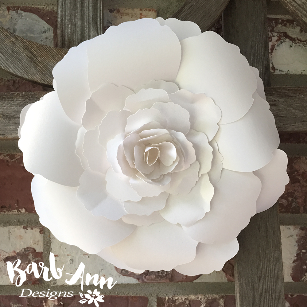 White And Cream Large Paper Flower Backdrop   Barb Ann Designs Large Layered Rose Paper Flower
