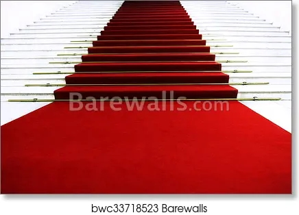 Red Carpet On Staircase Art Print Barewalls Posters Prints | Stairs With Red Carpet | Event | Gold | Spiral Staircase | Traditional | White