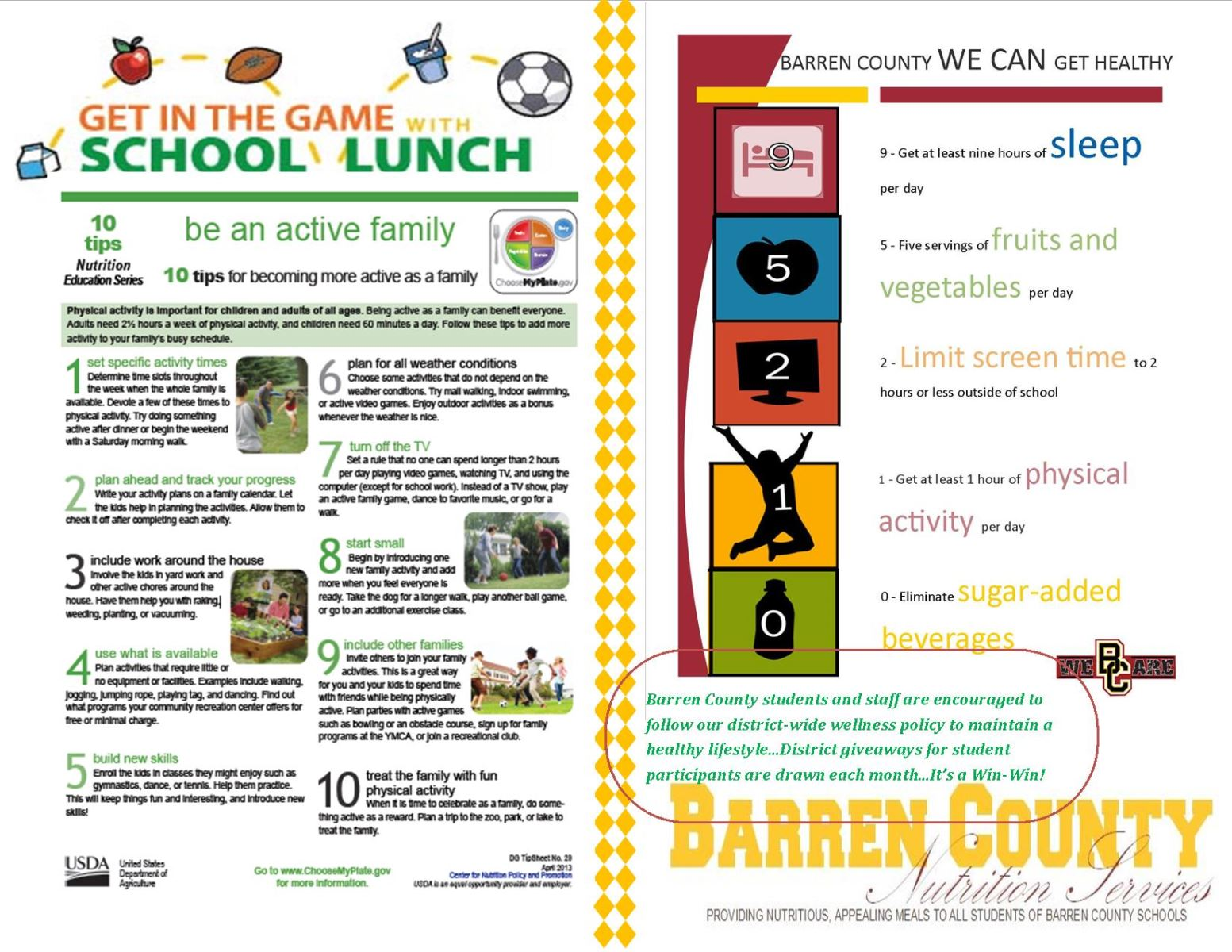 District 202 Lunch Menu