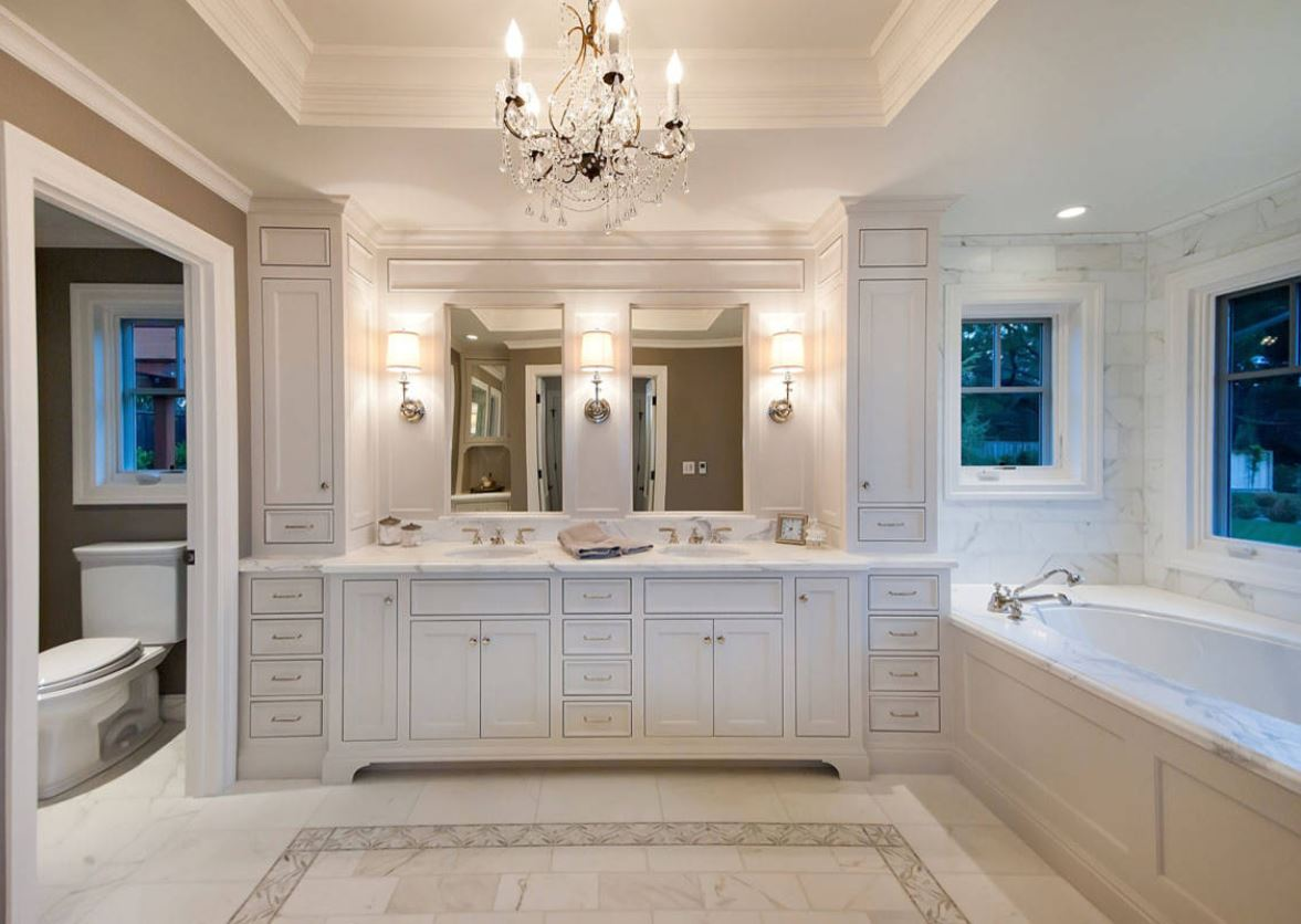 Bathroom Remodel Cost  Low End  Mid Range   Upscale 2017 2018 master bathroom with custom painted insert cabinets and beautiful light  fixtures